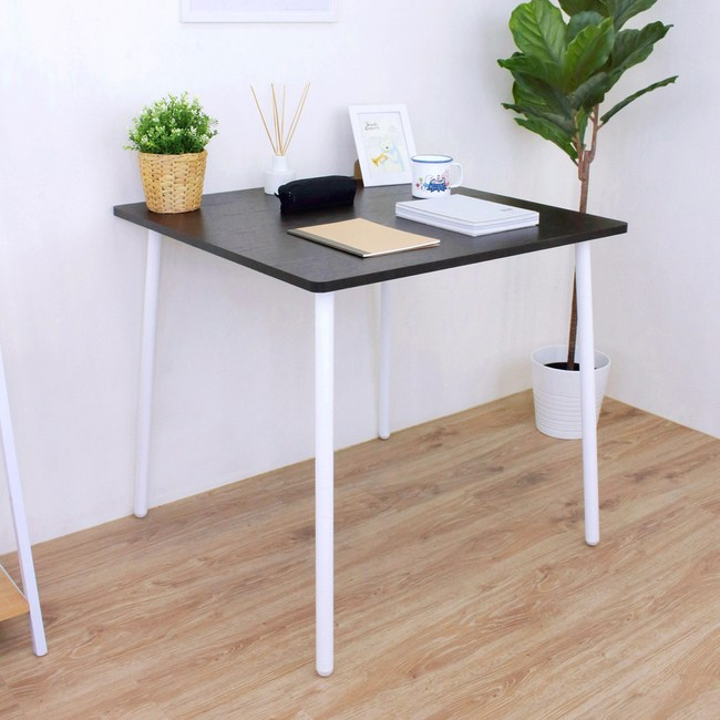 【頂堅】方形書桌/洽談桌/工作桌-寬80x深80x高76公分-二色可選深胡桃木色