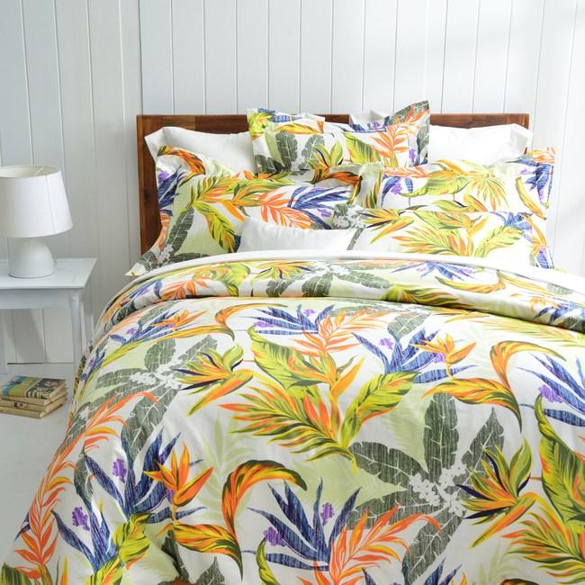 【Cozy inn】天堂-綠 300織精梳棉四件式兩用被床包組(雙人)
