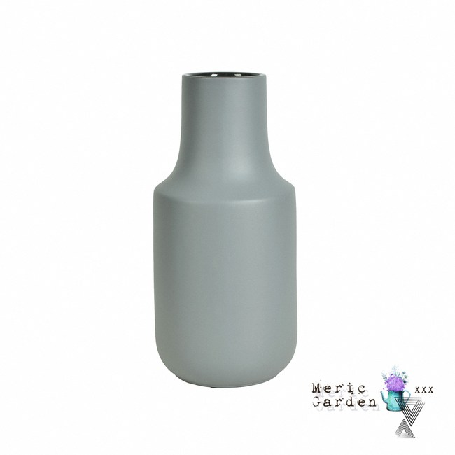 【Meric Garden】日式創意啞光釉陶瓷花瓶/花器_莫蘭迪灰L