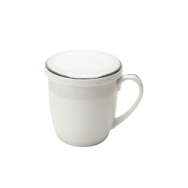 HOLA 羅馬旋律骨瓷蓋杯360ml 微波金