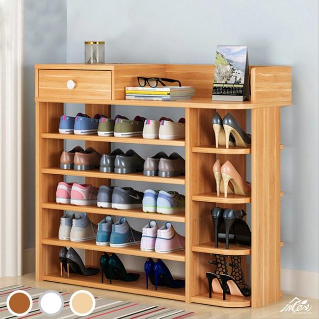 Incare 百搭簡約多格收納鞋櫃-六層楓木色