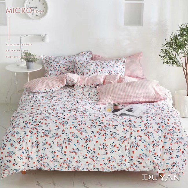 《DUYAN 竹漾》舒柔棉雙人床包被套四件組- 沁心花漾