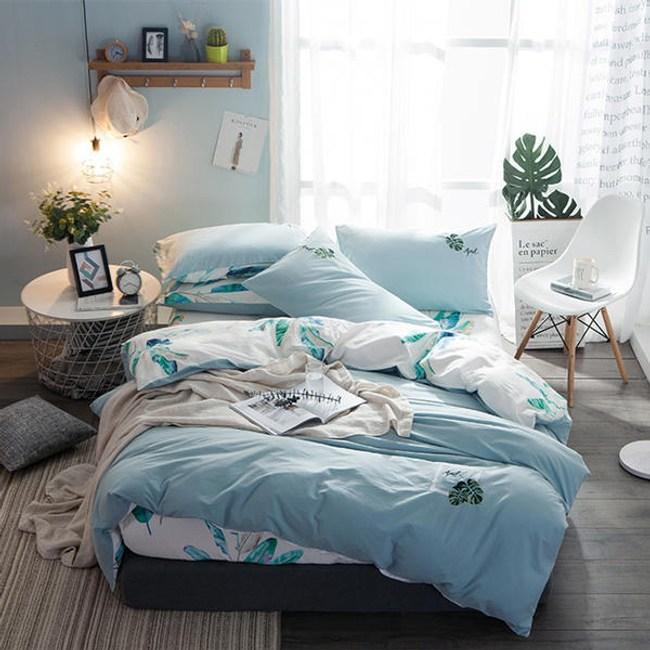 素色刺繡水洗棉床包被套雙人四件組-熱帶