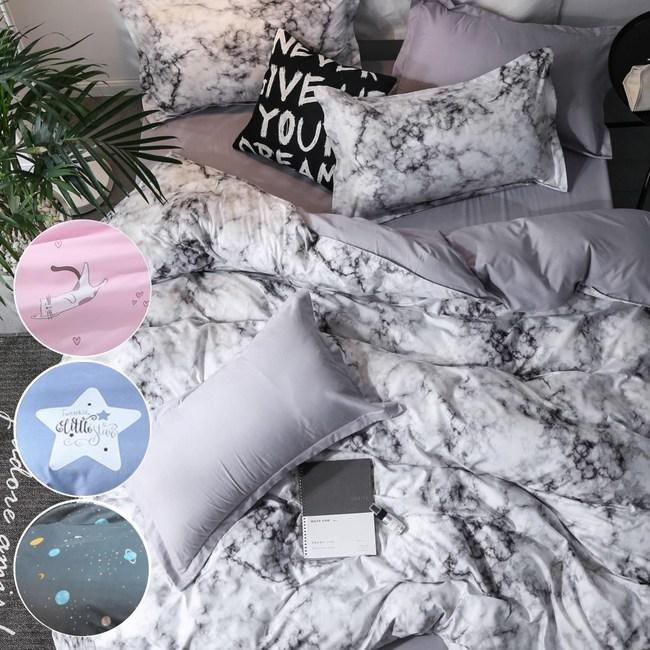【eyah】100%時尚天使絨雙人床包枕套3件組-多款任選漂流