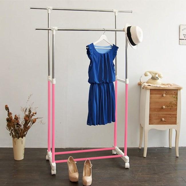 【H&R安室家】台製時尚雙桿延伸曬衣架/掛衣架櫻花粉