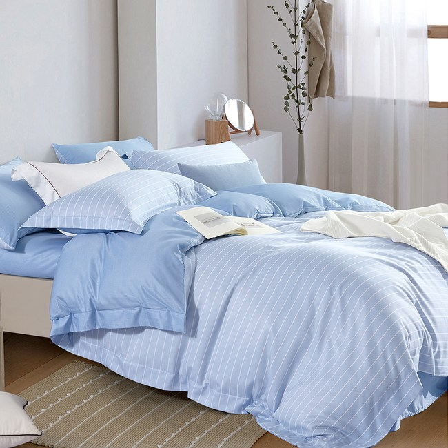 送-舒眠枕【DON輕奢時尚-藍】加大四件式吸濕排汗天絲兩用被床包組
