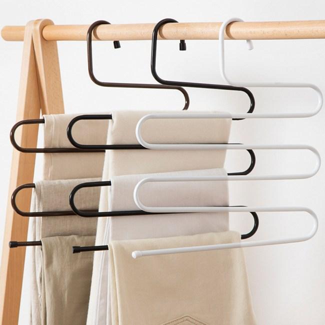 加粗S型不鏽鋼多層褲架 圍巾架2支組黑色