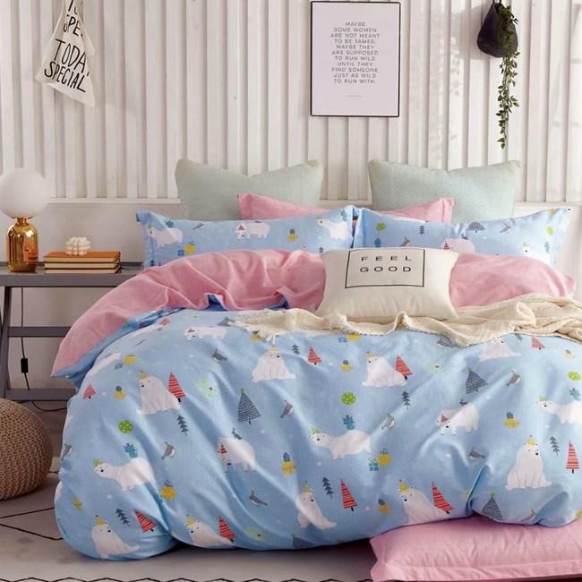【eyah】100%寬幅精梳純棉單人床包雙人被套三件組-西伯利亞歡樂日