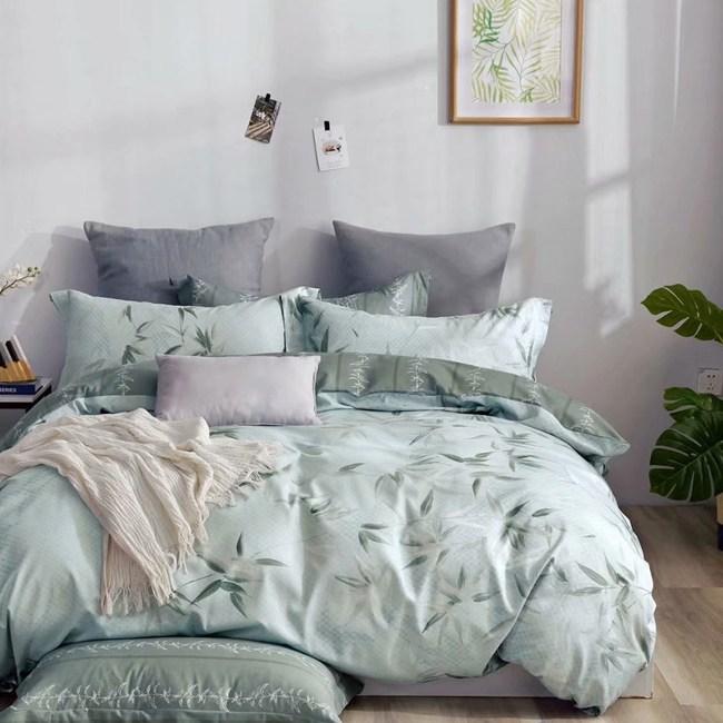 BEDDING-純棉四件式兩用被床包組-清風-綠(加大)