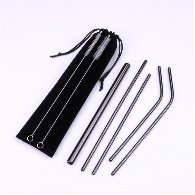 PUSH!餐具用品不鏽鋼金屬吸管組珍珠吸管(2入組)E134-3黑色黑色2組