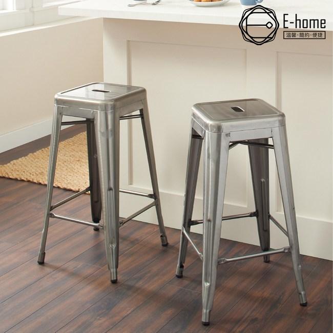E-home亞尼工業風可堆疊金屬吧檯椅高76cm槍