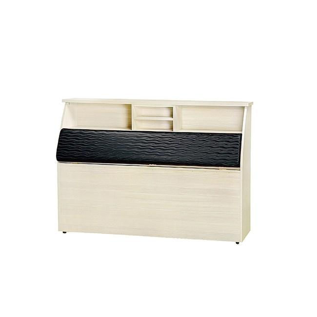 【YFS】克裏斯汀5尺雪松黑皮面床頭箱-154x30x110cm