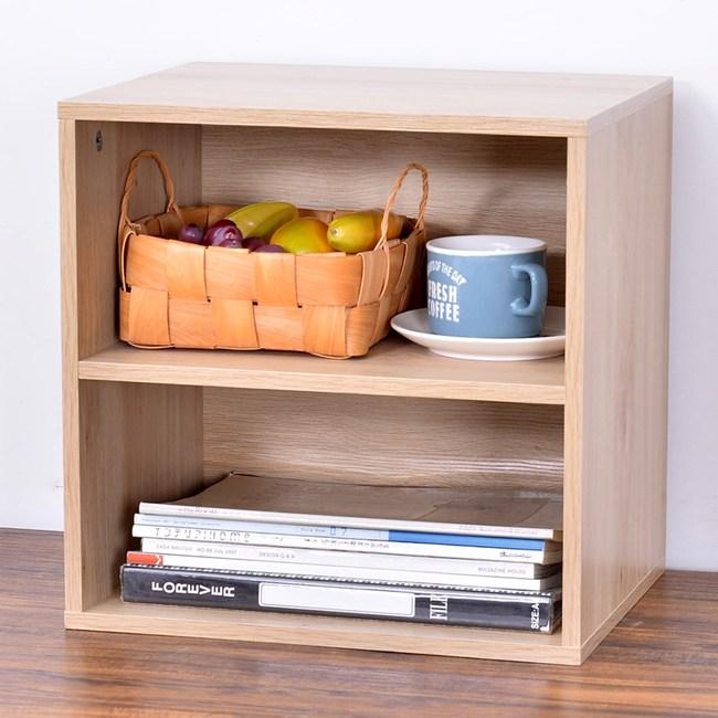 自由組合式收納置物櫃-雙層格(原木色)
