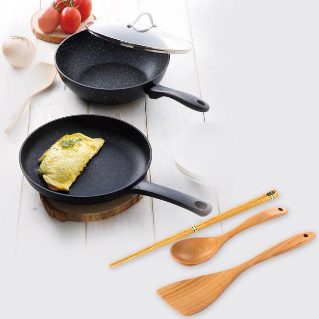 (組)STONE史東煎鍋28cm+炒鍋28cm+木質三件組