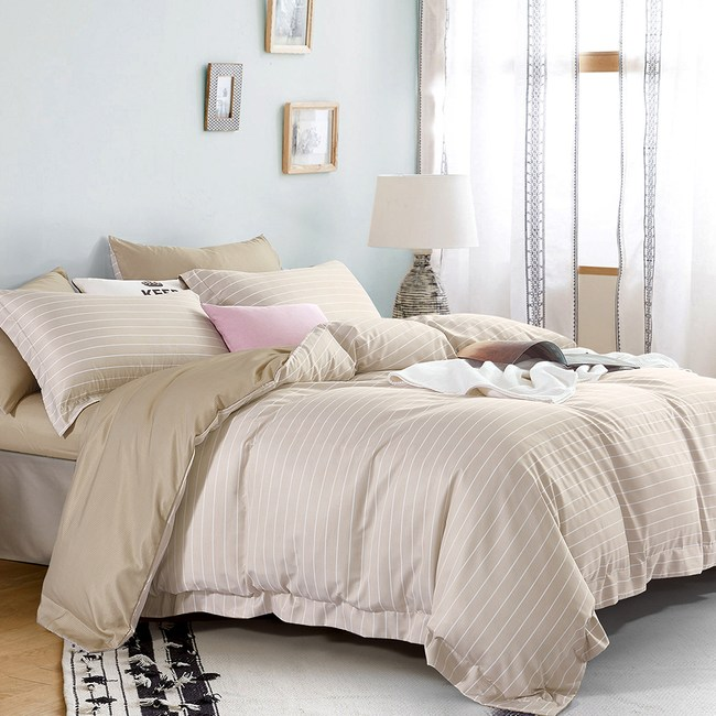 送-舒眠枕【DON輕奢時尚-米】加大四件式吸濕排汗天絲兩用被床包組