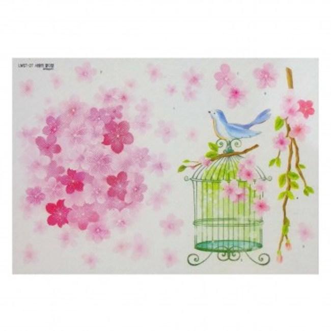 韓國Decoin大型創意壁貼 花與鳥