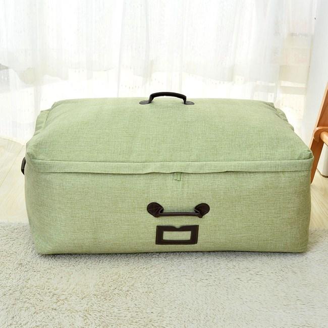 日式布質衣物棉被收納袋-(綠)中