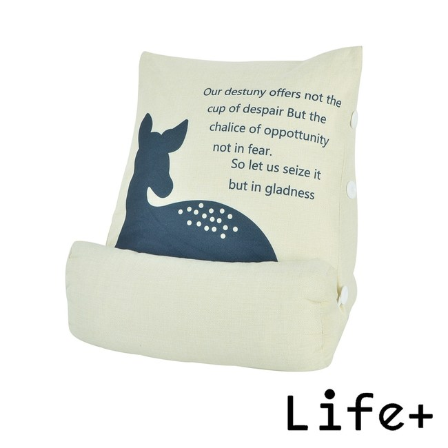 Life Plus 寂靜自然 舒壓萬用棉麻靠枕/抱枕/腰靠枕_悠閒鹿