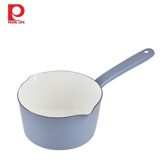 【日本珍珠金屬】琺瑯單柄牛奶鍋-天空藍15cm