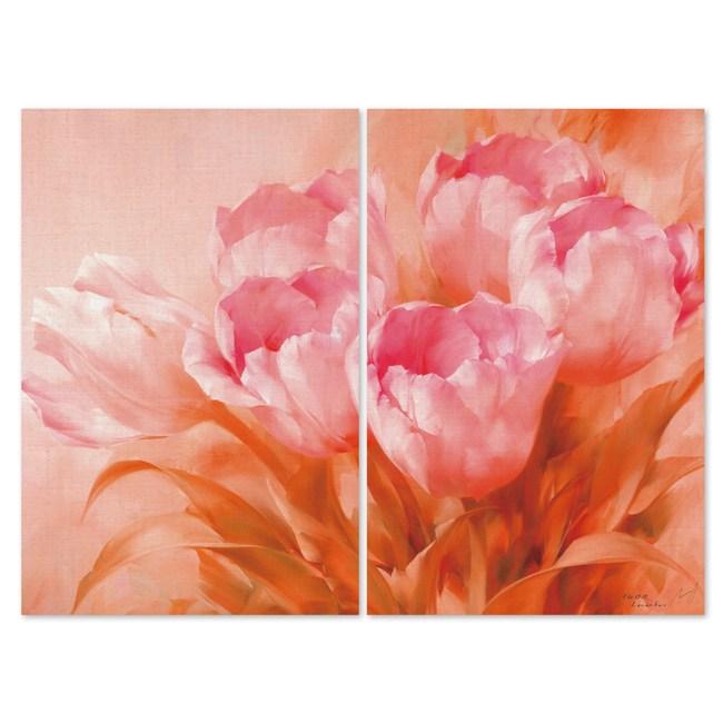 24mama掛畫-二聯式 居家裝飾 粉紅 花卉無框畫-40x60cm