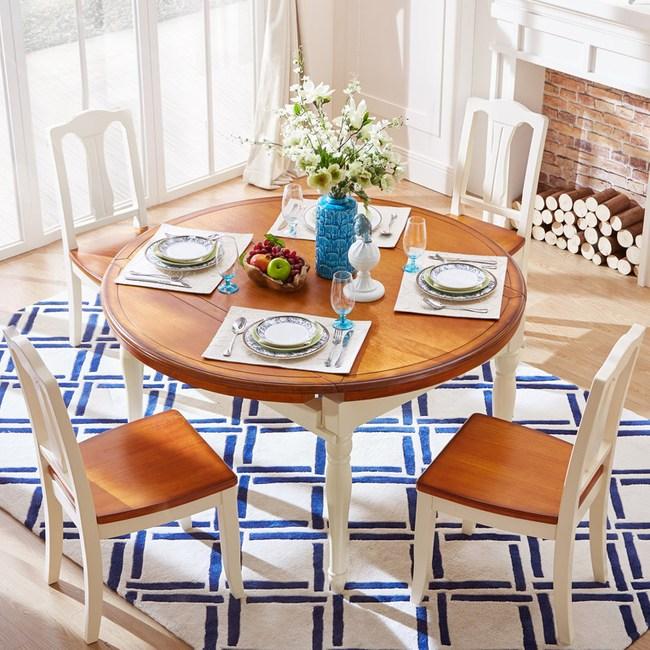 林氏木業美式小戶型圓餐桌  LSN1R+餐椅(一桌四椅) -紅棕+米黃色