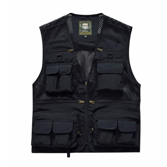 PUSH!戶外休閒用品多功能16口袋背心攝影釣魚背心F26黑色黑色M