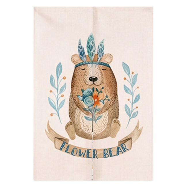 【Loviisa 森林小花熊】開運棉麻門簾 窗簾 韓版風水簾 送伸縮桿85x150cm