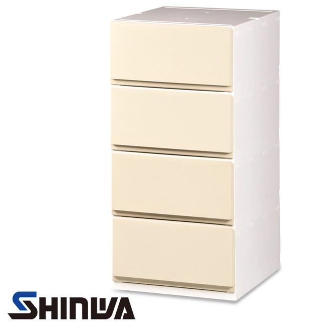 日本品牌 SHINWA 伸和 四層收納櫃 寬35公分 米白色款