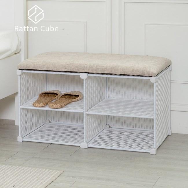 【藤立方】組合穿鞋椅(附2片層板)-白色-DIY