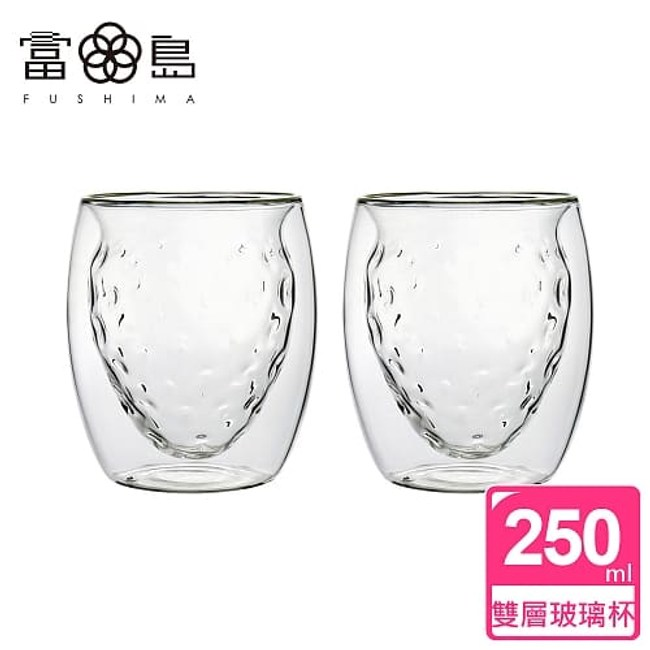 【FUSHIMA 富島】2018年度限定-雙層耐熱玻璃杯草莓甜芯*2入