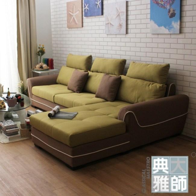 【典雅大師】Persis派西絲美型雙色L型沙發(共二色)亞麻綠+可可色-左