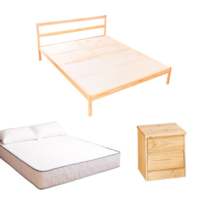 【YFS】頂級松木雙人床三件房間組(床架+床墊+床頭櫃)