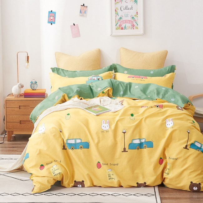 【eyah】100%寬幅精梳純棉單人床包雙人被套三件組-機諾李維