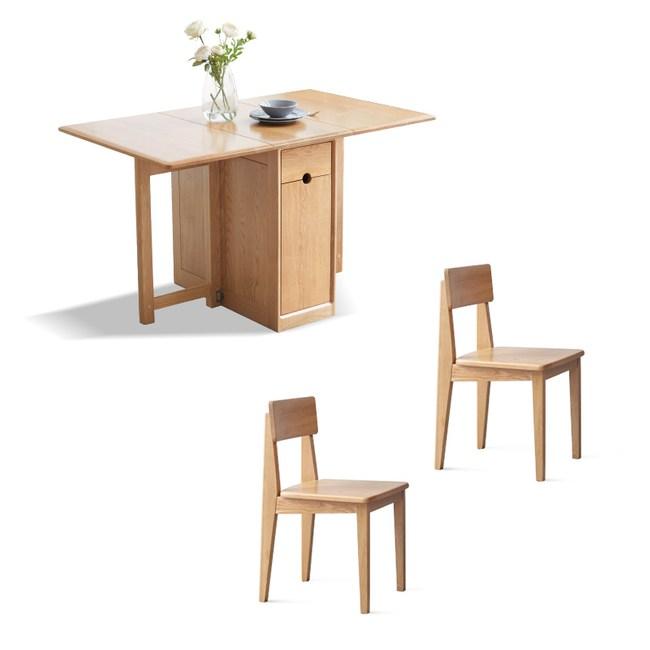 源氏木語鹿特丹橡木儲物摺疊餐桌 Y28R01 全實木靠背椅 Y9062 (一桌二椅)
