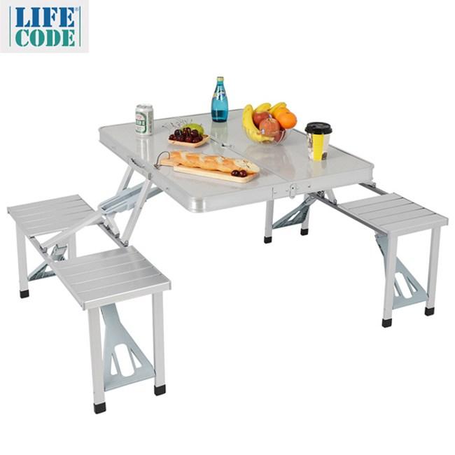 【LIFECODE】行動派-鋁合金折疊桌椅-烤肉.野餐桌/仲介洽談桌/