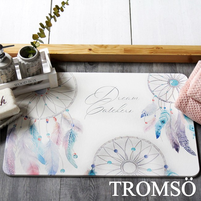 TROMSO珪藻土厚實吸水地墊-羽毛捕夢網