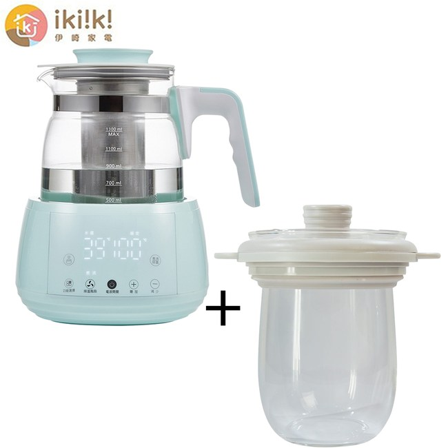 ikiiki伊崎家電 1.3L智能調溫烹煮壺(湖水綠)、0.9L燉盅