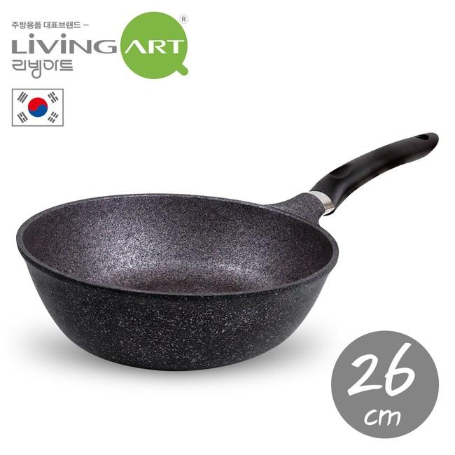 韓國【LIVING ART】超硬鑄造Inoble不沾炒鍋-26cm