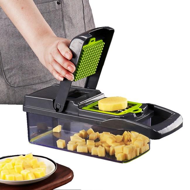 PUSH!廚房用品多功能壓丁切條濾蛋清切菜器D191灰黑色灰黑色