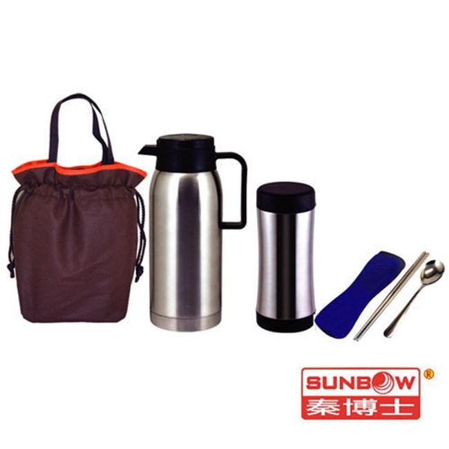 秦博士 高真空保溫瓶+保溫杯+餐具包+提袋 SYD100A+SPL35