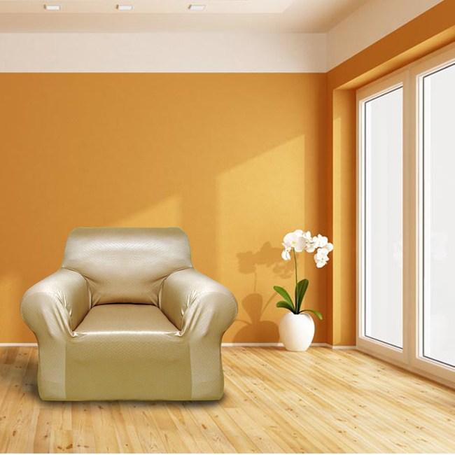 經典風格彈性沙發罩金1人