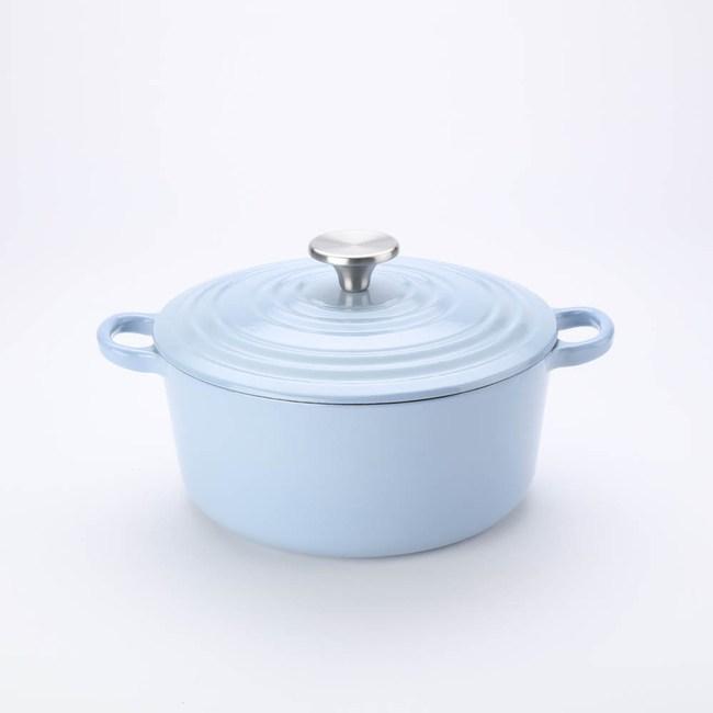 HOLA Amour亞莫鑄鐵琺瑯湯鍋22cm 迷霧藍 3.3L