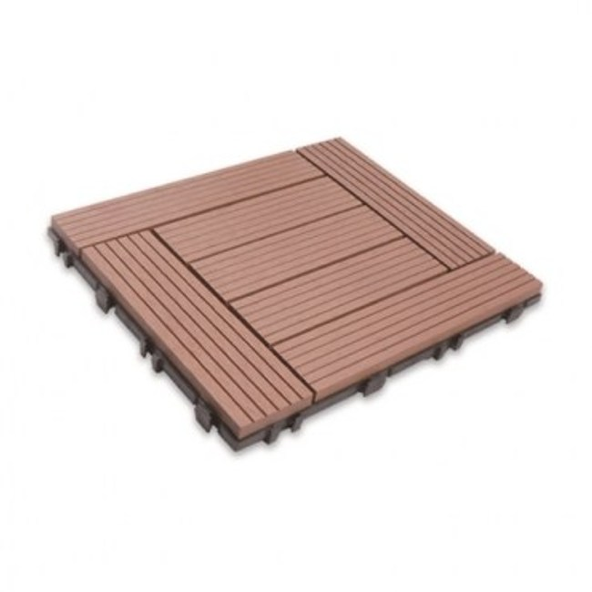 太陽神塑木拼接防潮地板30X30-L棕色