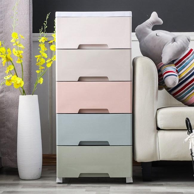 【IDEA】37面寬Rainbow粉嫩五層衣物玩具抽屜櫃/收納櫃如圖