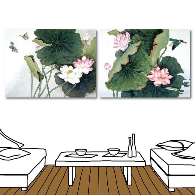24mama掛畫-二聯式 蓮花 水墨花卉 中國風無框畫-40x30cm