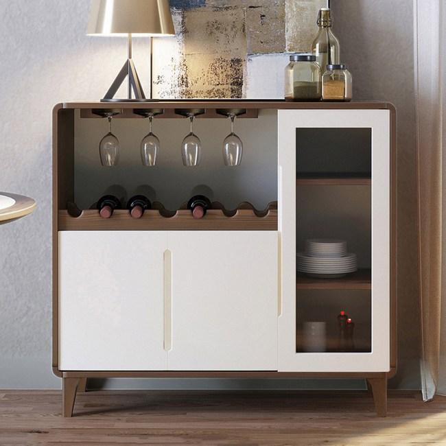 林氏木業簡約實木框亮光漆面三門餐櫃BA2T(具防倒功能) V2-木紋+杏色