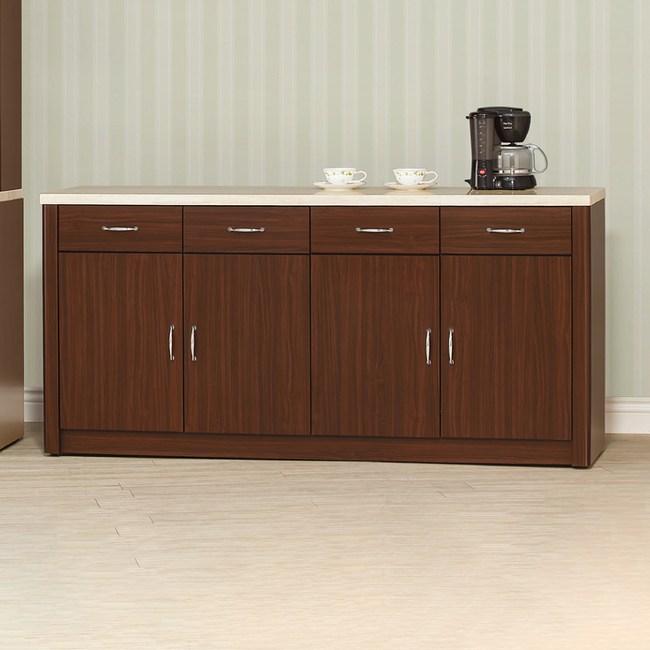 【YFS】奧德莉胡桃5.3尺仿石紋碗盤櫃下座-160.4x43x82