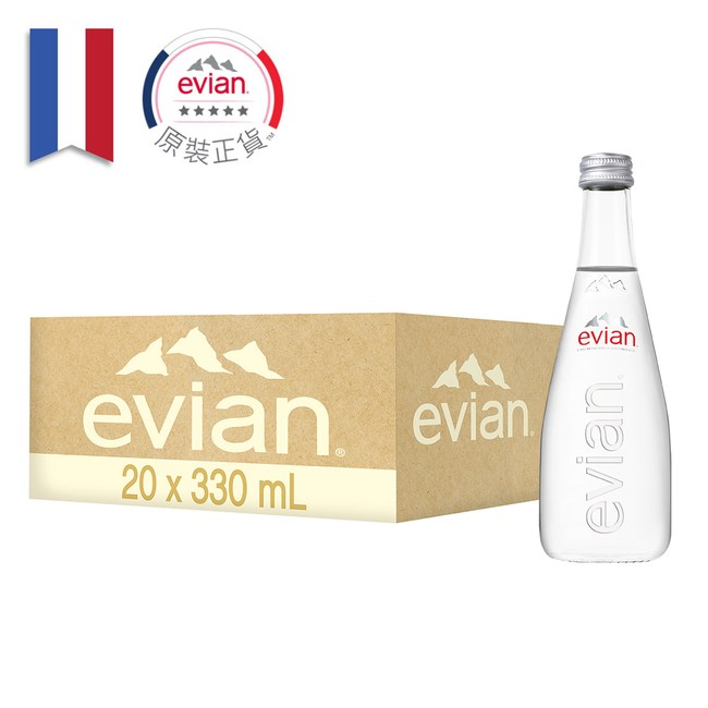 【Evian 依雲】天然礦泉水330ml(20入/玻璃瓶)