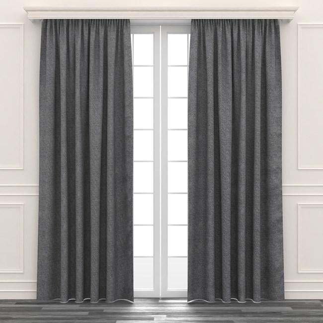 人字緹花遮光窗簾 寬290x高210cm 灰色款