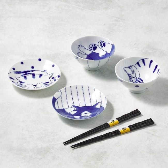 【有種創意】-日本美濃燒-仲良貓友碗盤禮盒組-附筷(6件式)